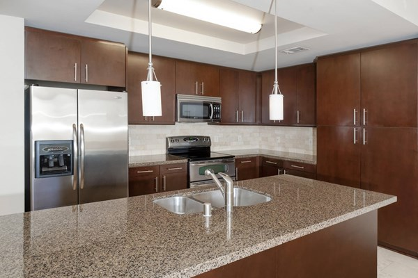 1818 Platinum Triangle Apartments Kitchen with Stainless Steel Appliances