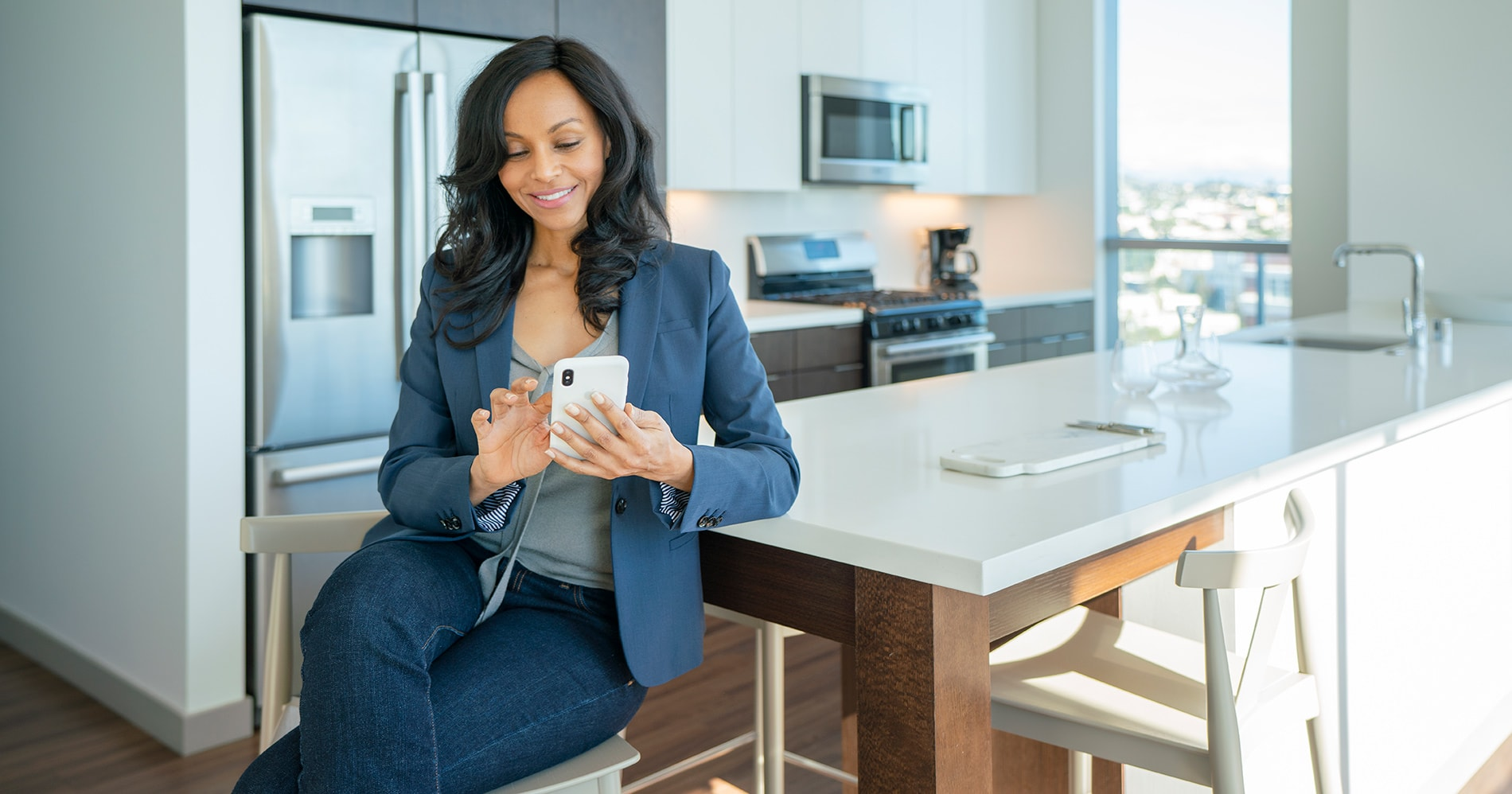 Smart Home Woman in Kitchen